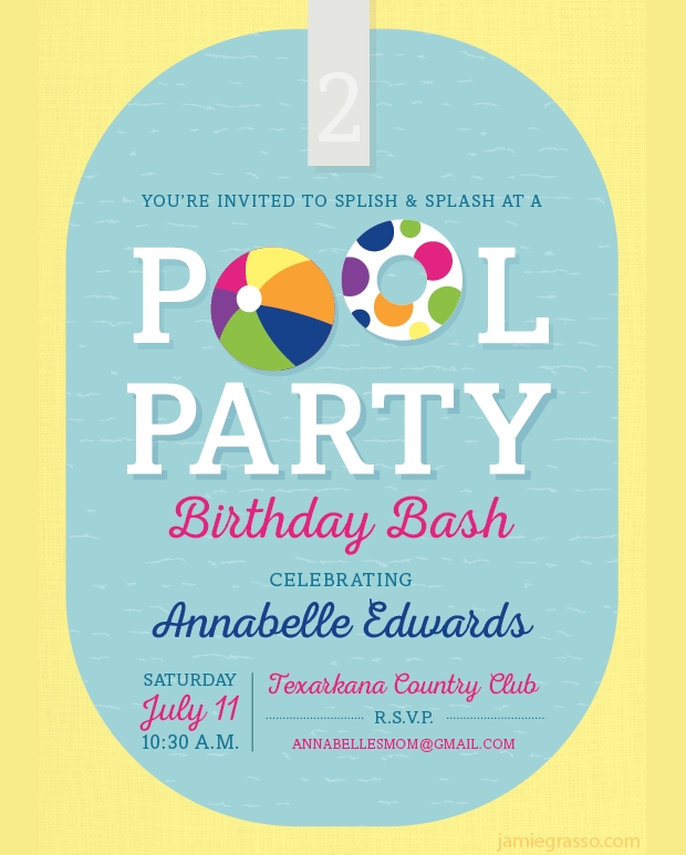 Birthday Pool Party Invitation Design