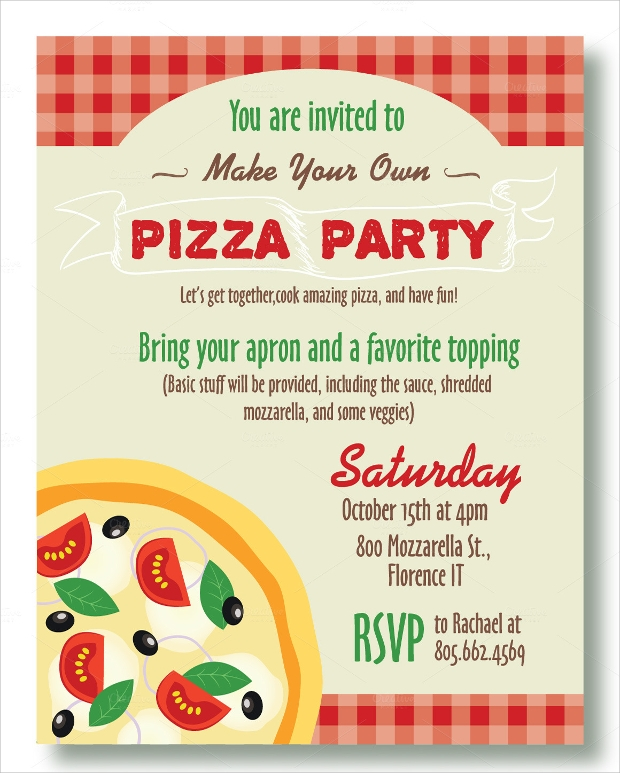 pizza pool party invitation - Pizza Party Invitation