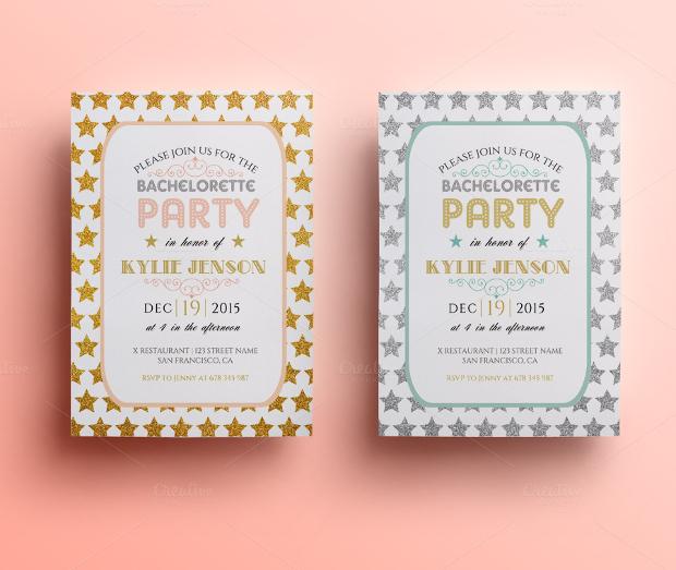 Glitter Bachelor Party Invitation