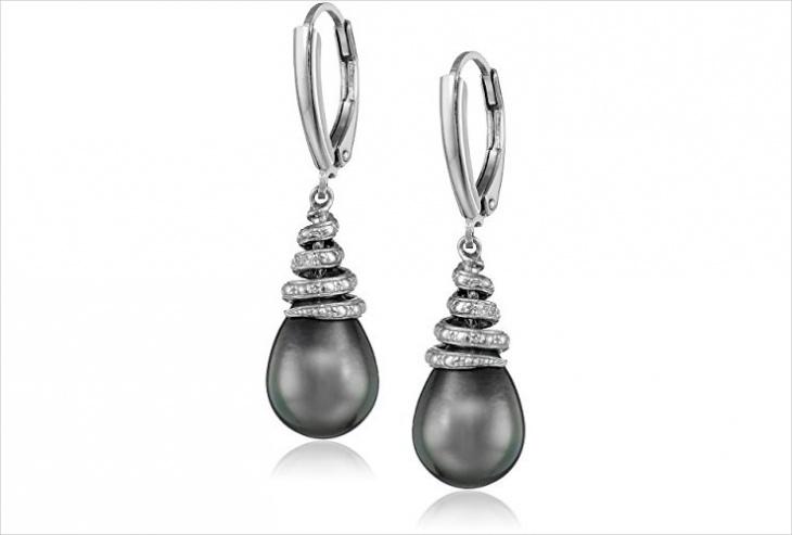 black pearl earrings design