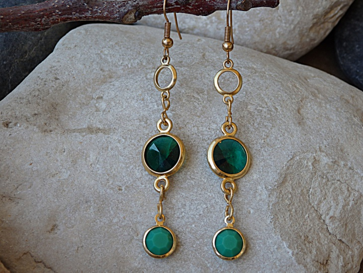 gold long earrings design