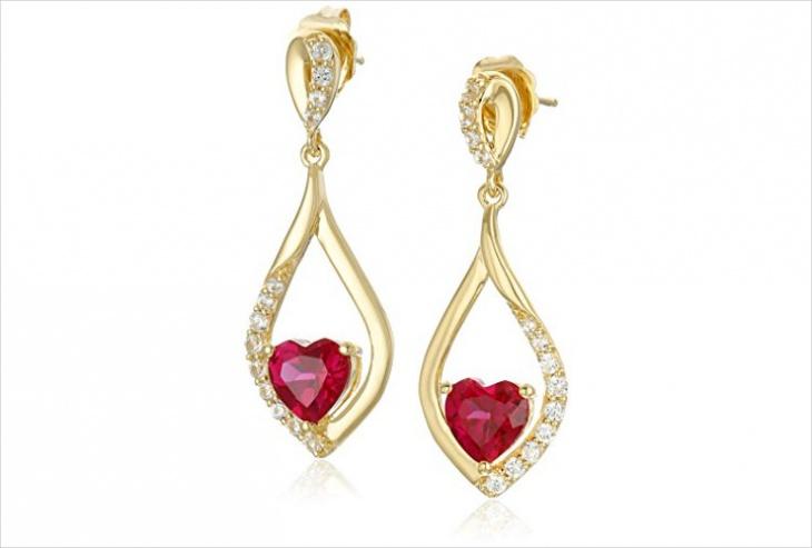 ruby heart earrings design
