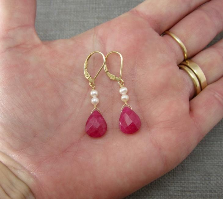 ruby dangle earrings design