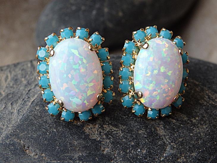 opal stud earrings design1