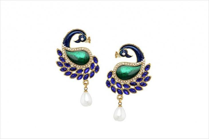 peacock blue earrings
