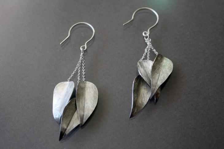 silver leaf earrings design