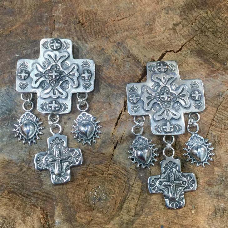 silver cross earrings design