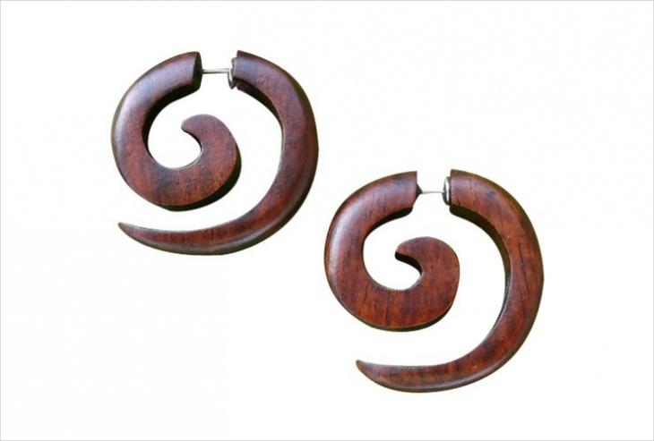 tribal wood earrings