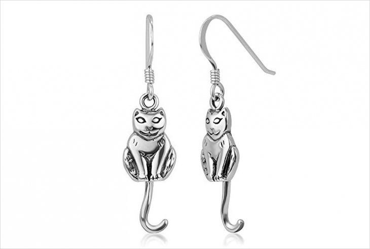 funny cat earrings design