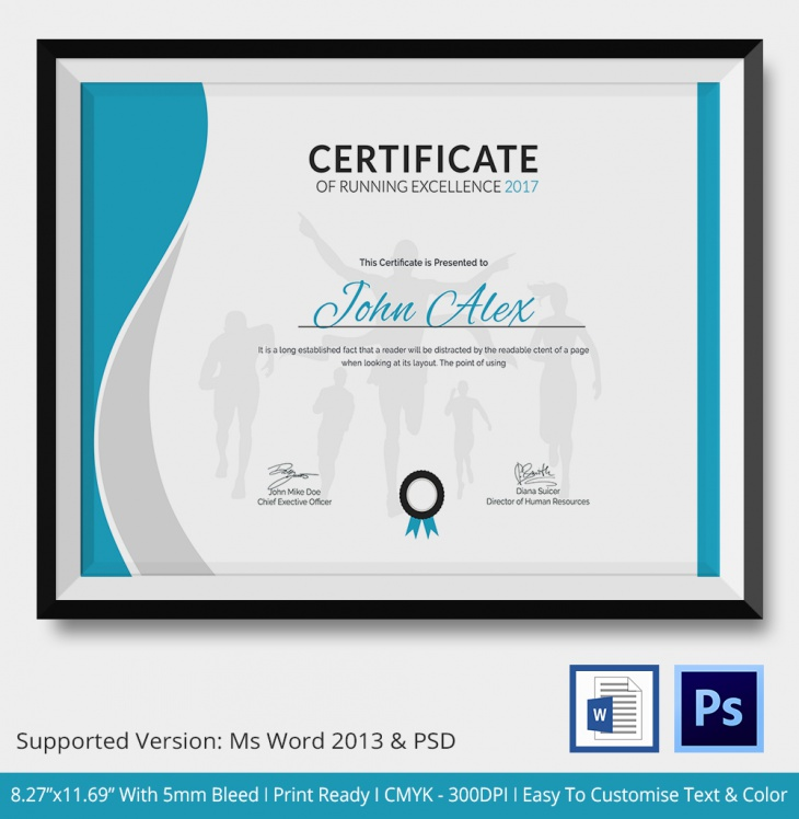 Excellence Running Certificate