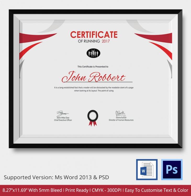 Certificate of Running Template