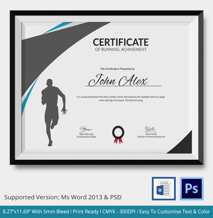5 running certificates psd amp word designs design