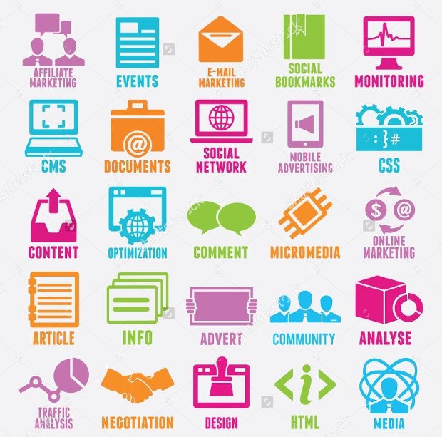 Seo and Internet Service Marketing Icons