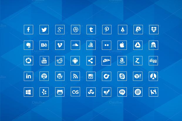 social media marketing squared icons