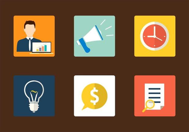 flat marketing squared icons