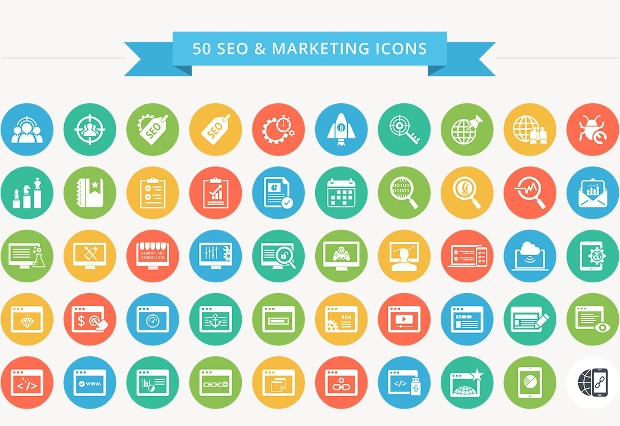 seo marketing flat color icon set