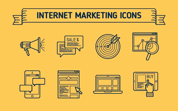 internet marketing outline icons