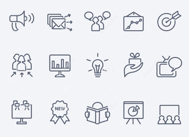 Thin line Marketing Icons