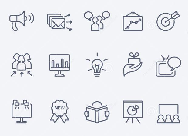 thin line marketing icons