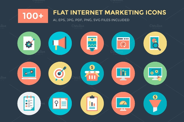 Flat Internet Marketing Icons