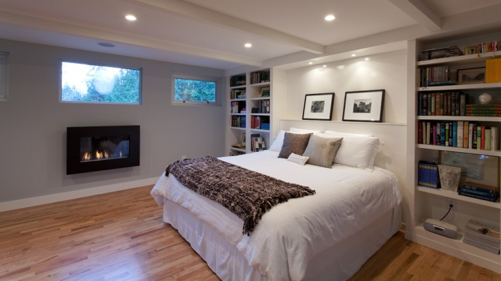 basement bedroom fire place idea