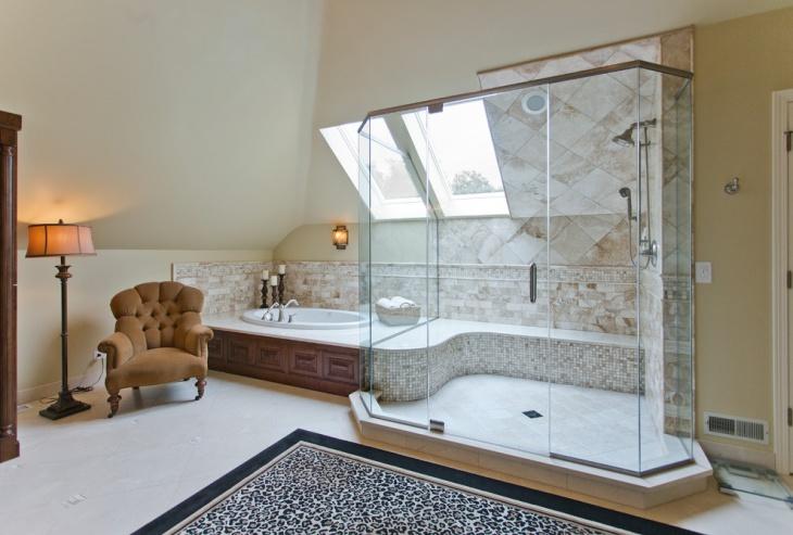 mid century bathroom skylight idea