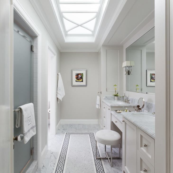 scandinavian bathroom skylight idea