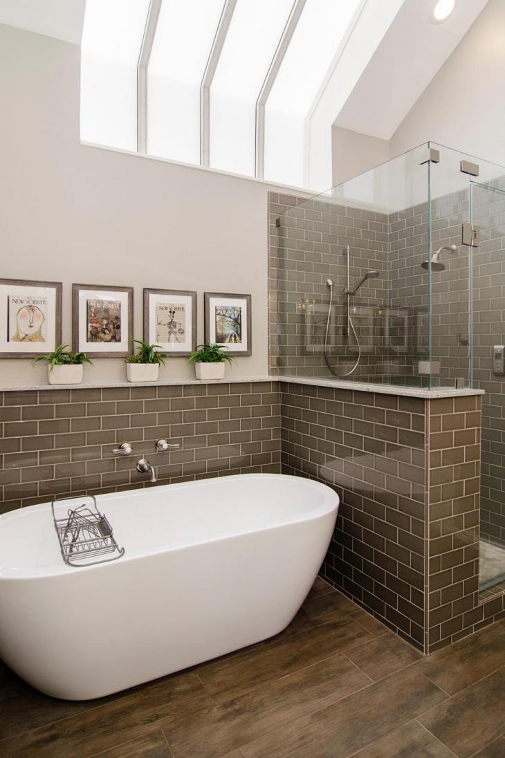 brown wall tile bathroom skylight idea