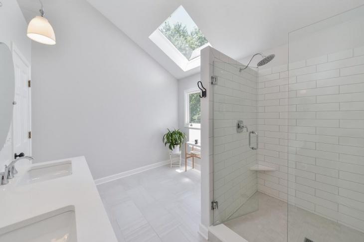 white bathroom skylight idea