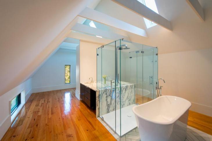 bathroom skylight wooden floor design