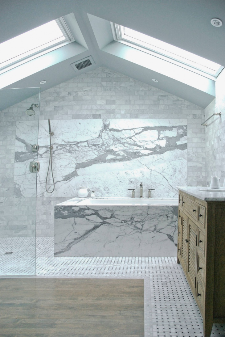 transitional bathroom with skylight