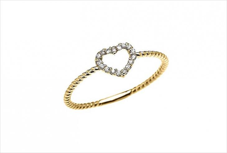 open heart design ring