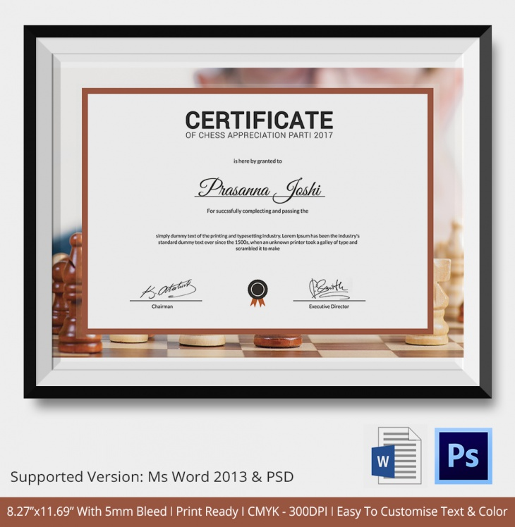 5 Chess Certificates - PSD & Word Designs | Design Trends ...