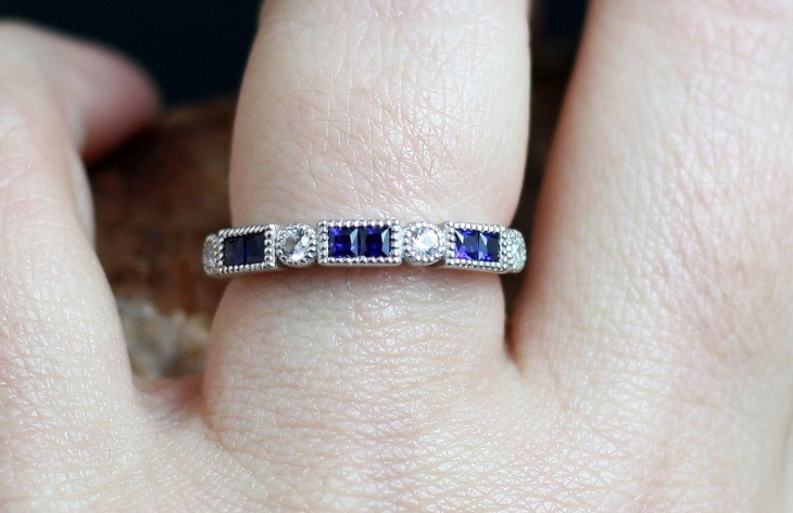 blue and white eternity ring