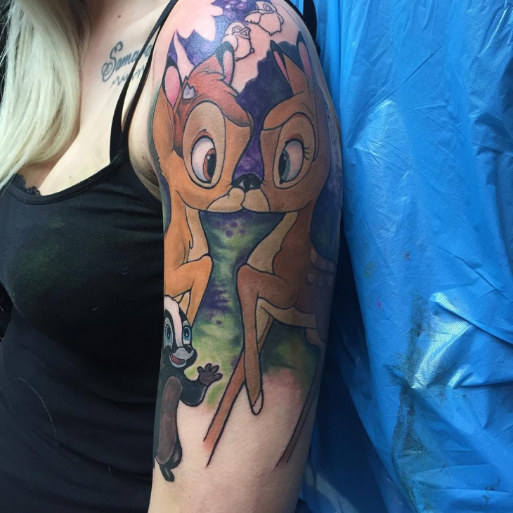 bambi half sleeve tattoo