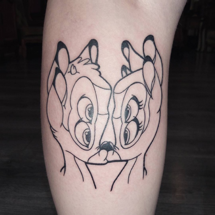 black work bambi tattoo idea