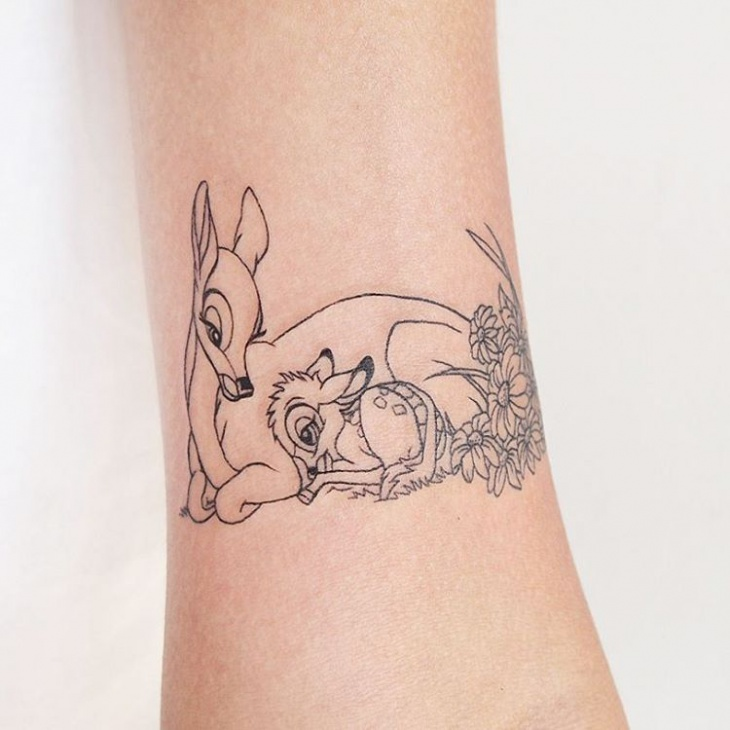 lovely bambi and fawn tattoo