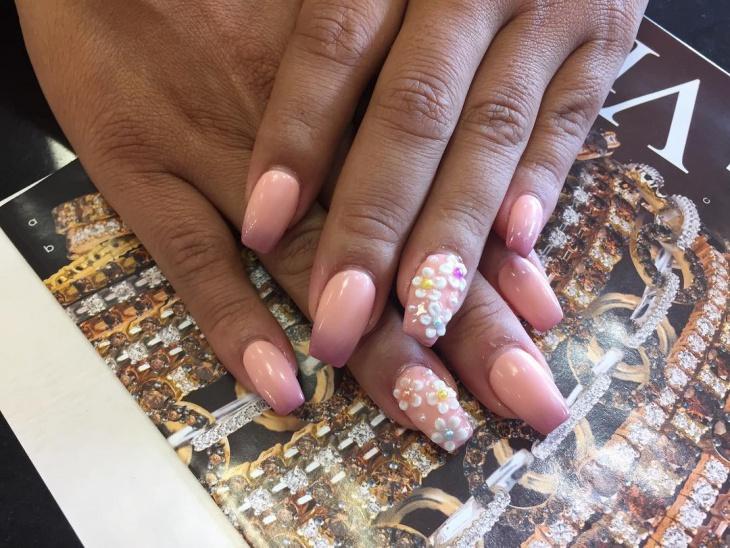 floral acrylic nail design