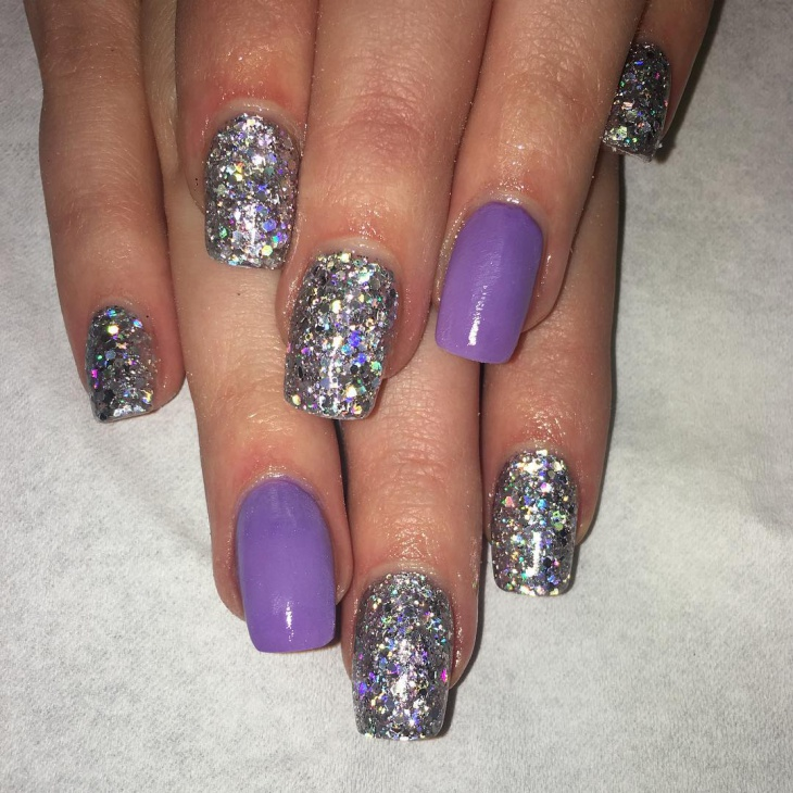 60 acrylic nail art designs ideas design trends premium psd silver glitter acrylic nail design prinsesfo Images