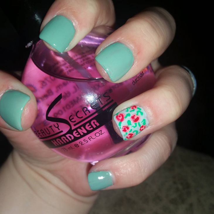 Spring Flower acrylic Nail Design