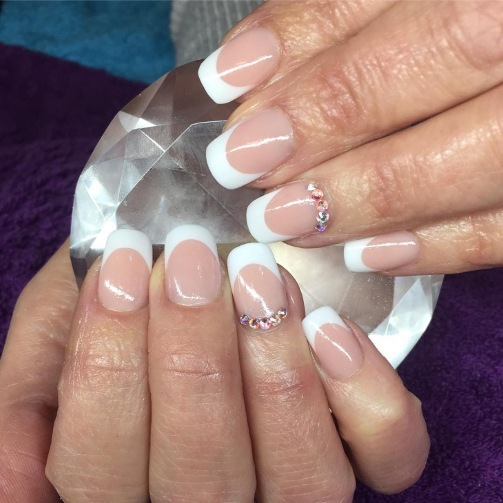 white french tip acrylic nail design