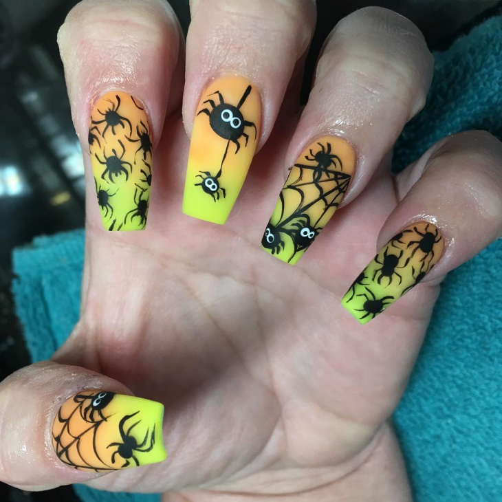 halloween spider acrylic nail design