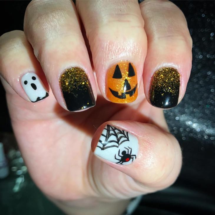 halloween pumpkin acrylic nail design
