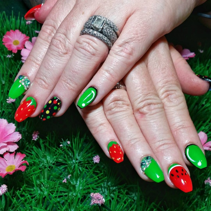 funny fruit acrylic nail design