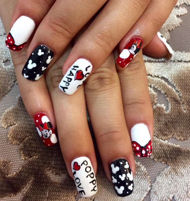 funny cartoon acrylic nail design