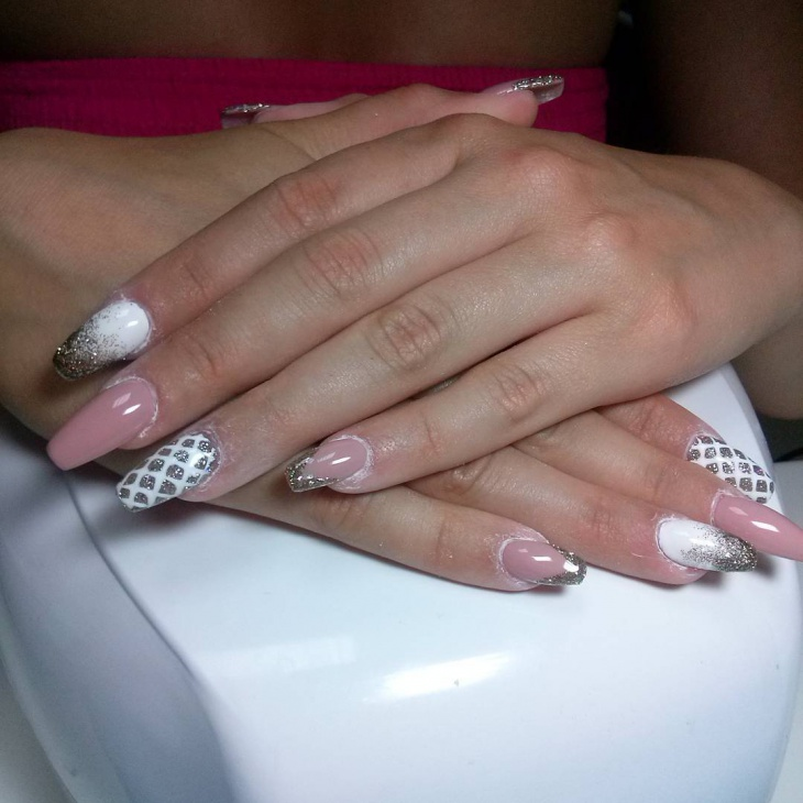 white acrylic prom nail design