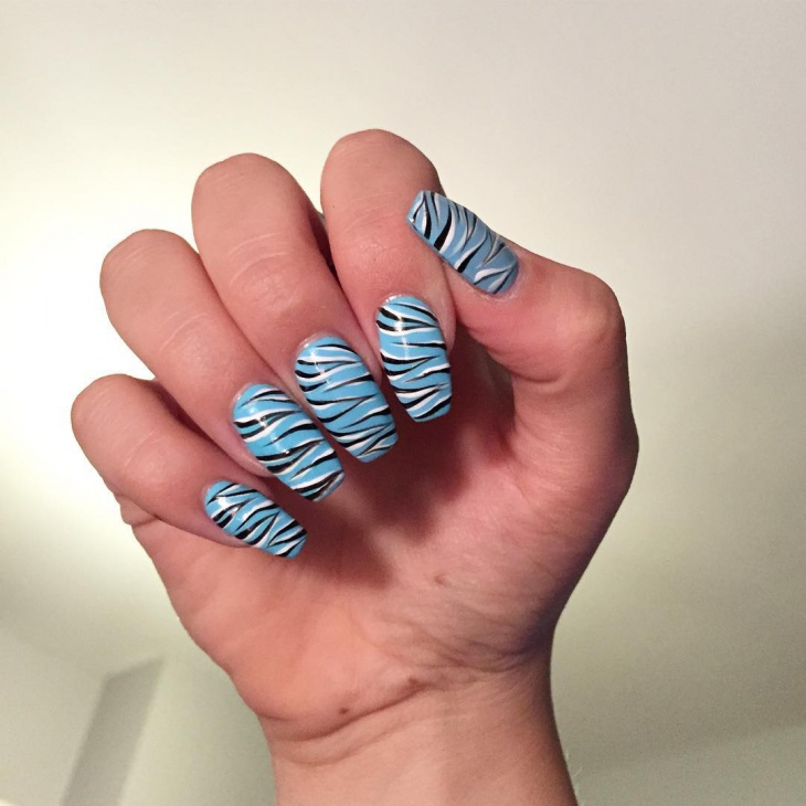 zebra print acrylic nail design