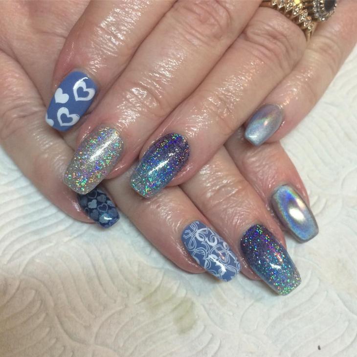 heart glitter acrylic nail design