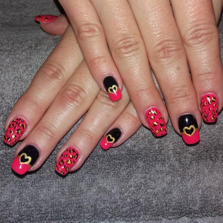 pink heart acrylic nail design