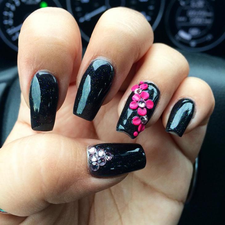 long black acrylic nail art design